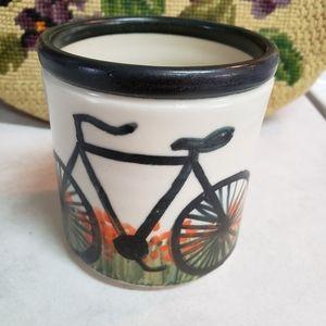 Hand Thrown pottery mug Bike Bicycle